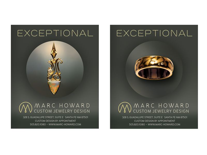 Ad Design for Marc Howard Custom Jewelry Design, Santa Fe, NM