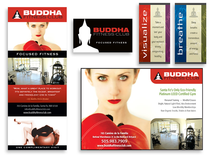 Graphic design and print design for Buddha Fitness Club, Santa Fe, NM