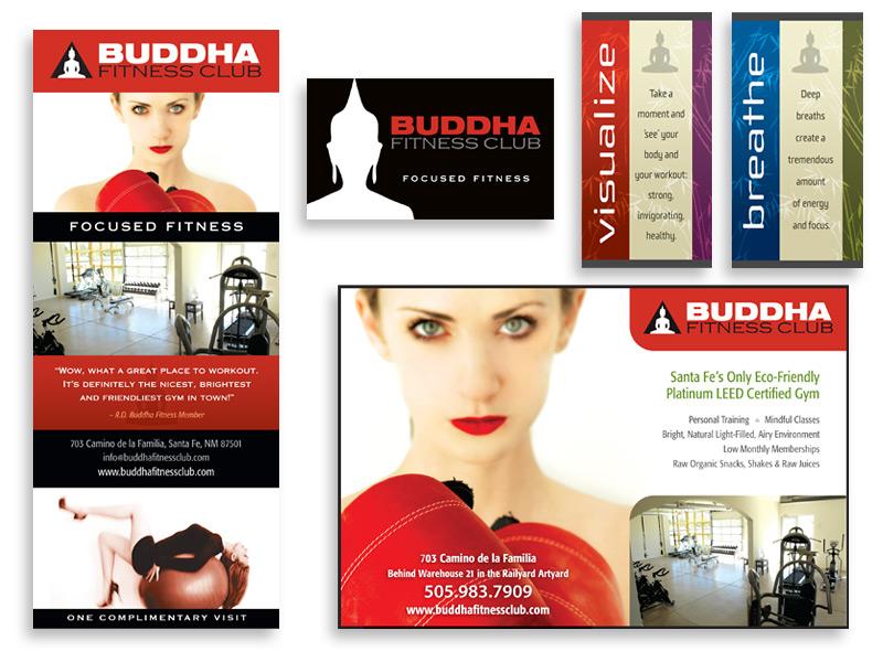 Graphic design and print design for Buddha Fitness Club, Santa Fe, NM