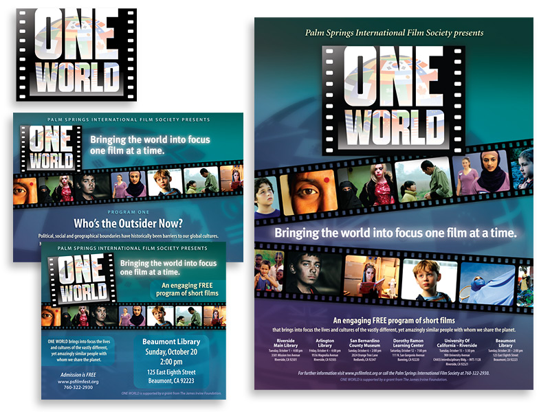 Graphic design and print design for One World Short Film Festival, Palm Springs, CA