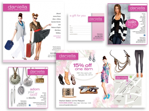 Graphic design and print design for Daniella Boutique, Santa Fe, NM