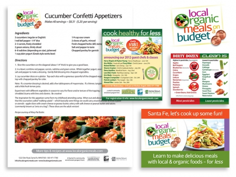 Graphic design and print design for Local Organic Meals, Santa Fe, NM