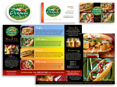 Graphic design and print design for Global Organic Kitchen, Santa Fe, NM