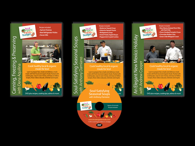 DVD series product and packaging design for Local Organic Meals, Santa Fe, NM