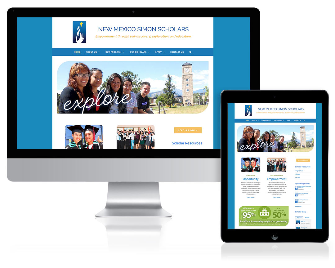 WordPress Website Design for New Mexico Simon Scholars, Santa Fe, NM