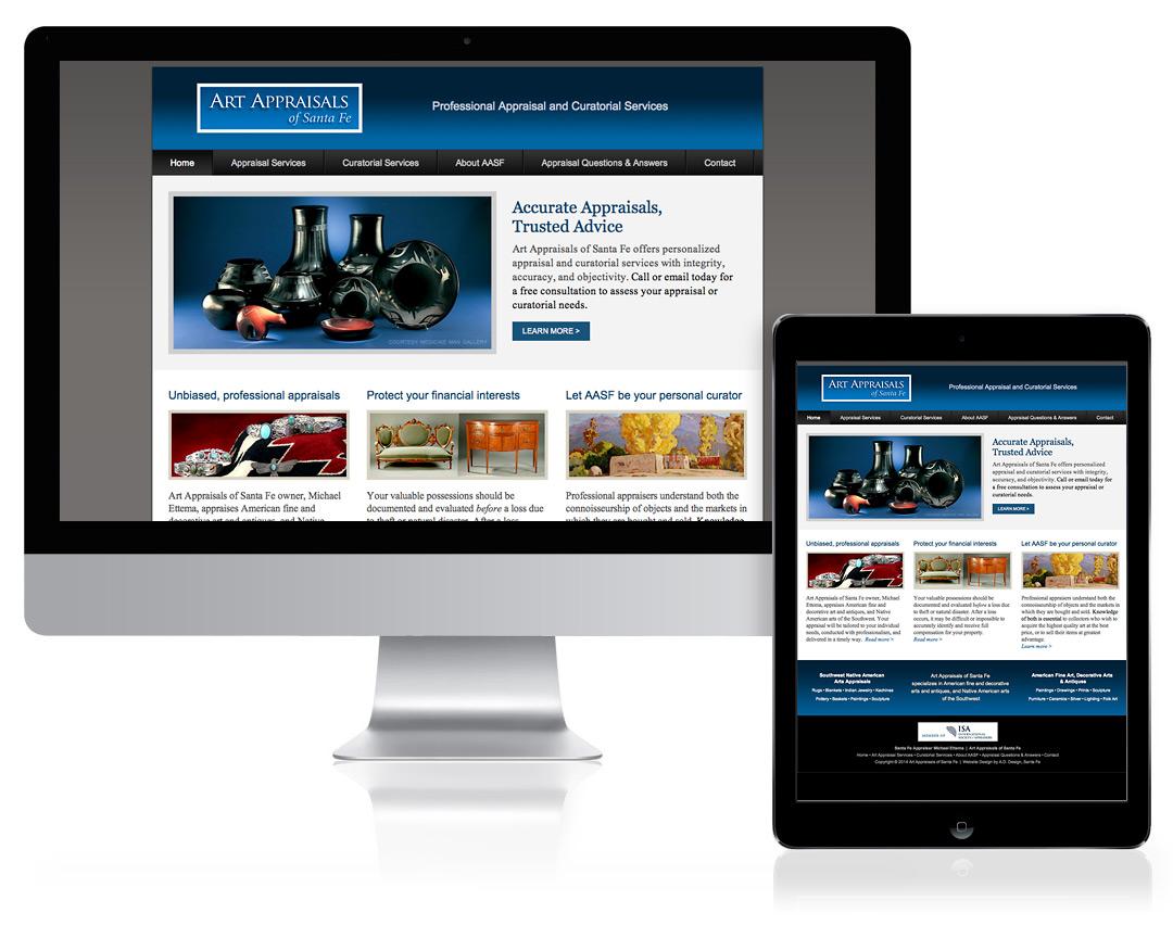 WordPress Website Design for Art Appraisals of Santa Fe, Santa Fe, NM