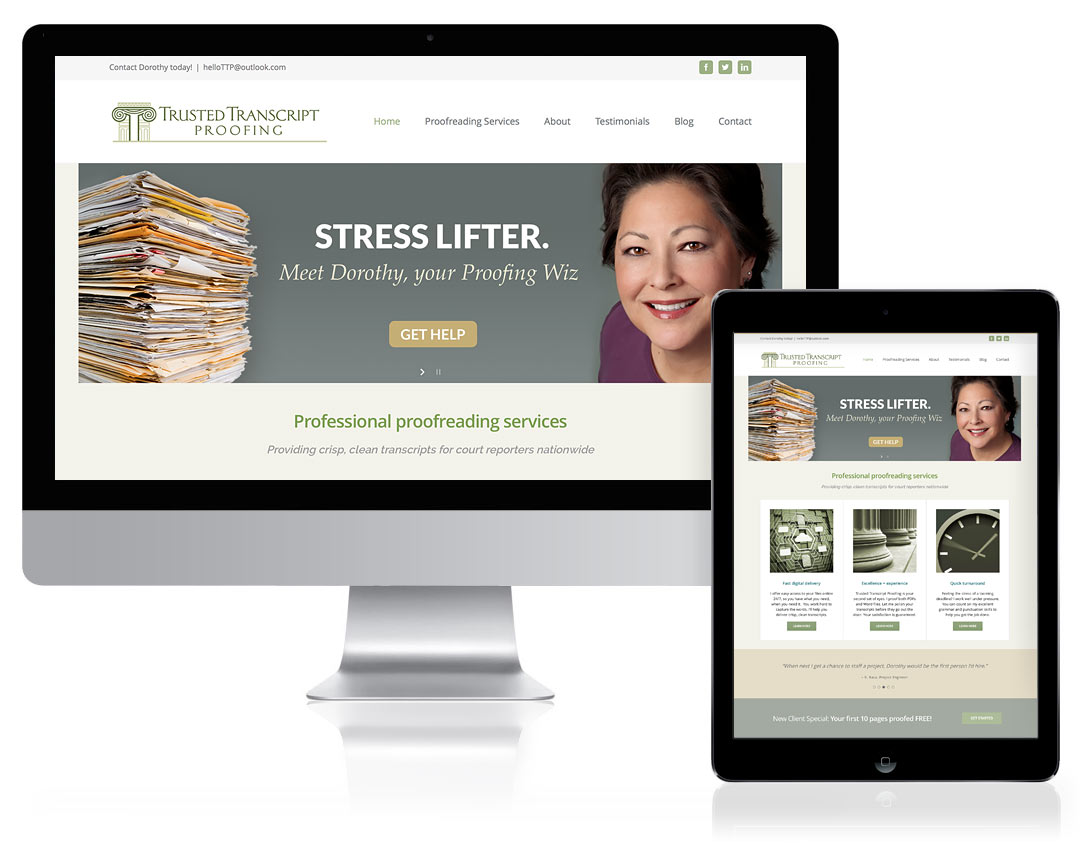 WordPress Website Design for Trusted Transcript Proofing, Santa Fe, NM